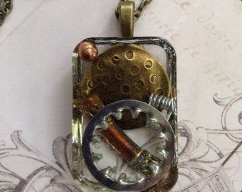 Resin Pendant, Steampunk Necklace, Steampunk Resin Jewelry
