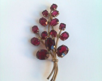 Rhinestone Brooch Vintage, Bouquet Brooch, Botanical Brooch Cranberry, Red Floral Brooch, Vintage Jewellery