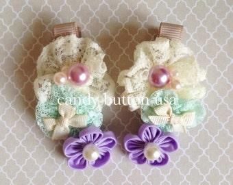 Purple Lavender Hairclip * Flower Hairclip * Lace Hairclip * Toddler Hairclip * Baby Hairclip * Girls Hairclip * Bow Hairclip