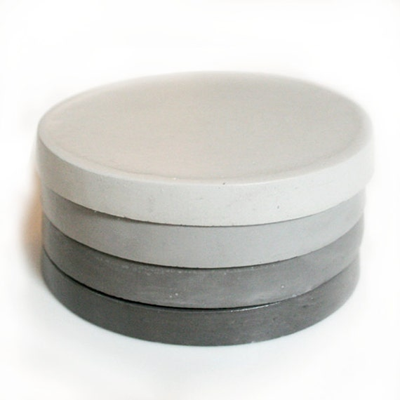 Concrete ombre coasters minimalist grey set of 4 by for How to make concrete coasters