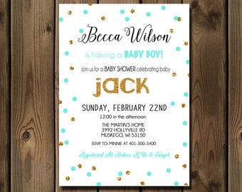 Turquoise and Gold baby boy shower invitations, Baby Shower Printable Invite- 96