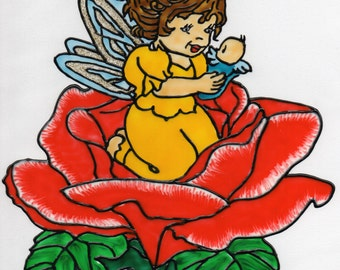 Hand-painted window color window picture WiCo removable fairy on rose (016)