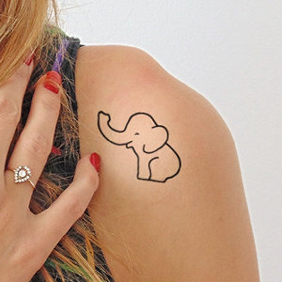 Elephant temporary tattoo set of 2 for Temporary elephant tattoo