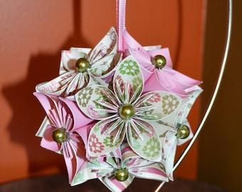 "Handmade ""Pink Snowflakes & Stripes"" Kusudama Flower Ornament"