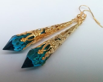 Blue Gold Earrings , Turquoise Teardrop Earrings , Gold Filigree Earrings , Blue Teardrop Earrings , Turquoise Earrings , Handmade Gift