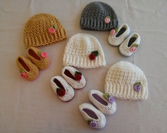 Crochet Hat with Matching Slippers for Baby Girl