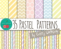 "SALE Pastel Digital Paper ""Pastel Patterns"" Spring Digital Paper in Pastel Colors - cute backgrounds for scrapbook, cards, invites"