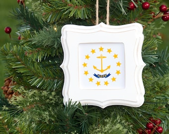 Ornament/Frame ~ Rhode Island State Flag, Anchor, Christmas Ornament, Hand~painted Frame, Cottage Decor, Teacher Gift