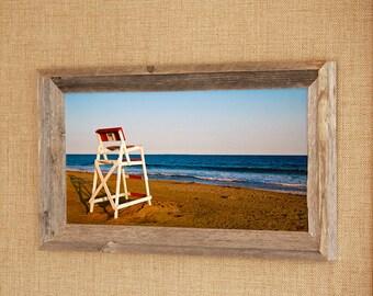 """Chair """"9""""~ Barnwood Framed Photograph, Nautical Photos, Beach Photos, Westerly, RI Photos, Rhode Island Photos, Misquamicut Beach, Gifts"""