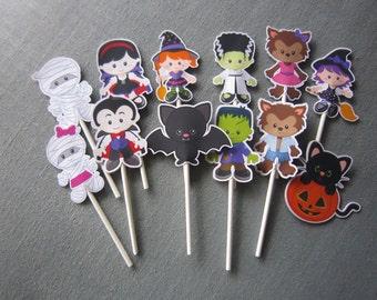 Halloween Cupcake Topper - Party Decor - Birthday Decor - Happy Halloween