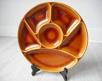stunning used vintage French Gien France majolica divider / fondue plate