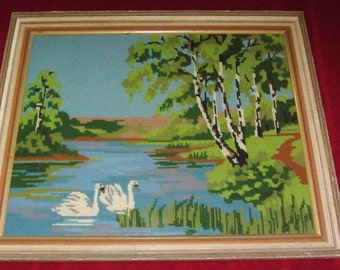 Vintage 50s White Swans Cross Stitch  Shabby Chic Textile Wall Art Framed