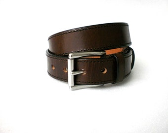 leather gun belt 1.5'' heavy duty 1/4'' thick casual handmade veg tan steel buckle