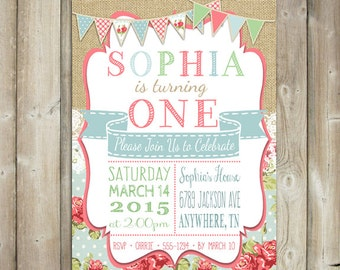 Shabby Chic Birthday Party Invitation - Girls First Birthday Party Invite - Floral - Lace - Digital File - Print Yourself