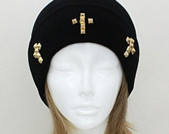 Pyramid Cross Studded Polyester Beanie