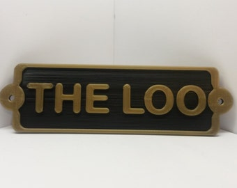 The Loo Water Closet Toilet Bathroom Door Sign - Vintage Antique Shabby Chic Style Loo Home Decor Faux Brass