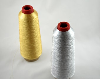 1 SPOOL Fine Metallic Embroidery Thread Approx. 5,000yards- choose from gold or silver for Fine Detailing and Lettering