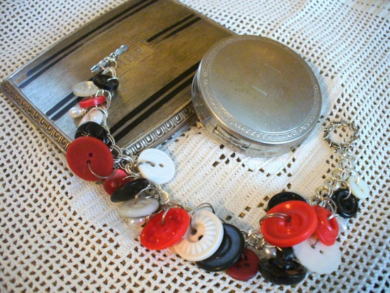 Vintage Red, White, and Black Buttons and Seed Pearls on a Silver Plated Double Chain Bracelet with Toggle Clasp