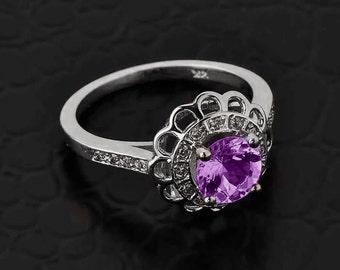 Solid White Gold Diamond Alexandrite Halo Engagement Ring. CZ Alexandrite White Gold Ring. Pave diamond. Flower halo.
