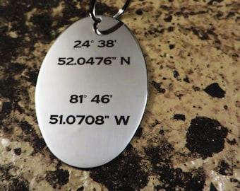 Latitude Longitude Stainless Steel Key Chain Gift Husband Wife Boyfriend Girlfriend College Student