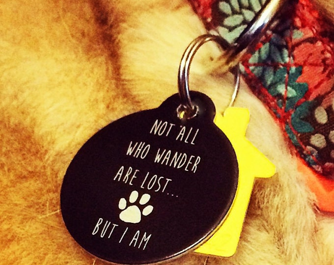 Pet Tag Custom Laser Engraved - Black Anodized Aluminum Pets; Cat Dog Animal Lovers Christmas Gift