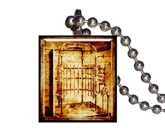Vintage Steampunk Old Fashioned Shower - Reclaimed Scrabble Tile Pendant Necklace