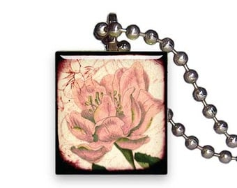 Faded Wild Rose Flower Vintage - Reclaimed Scrabble Tile Pendant Necklace