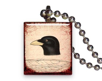 Crow Black Bird Head Vintage - Reclaimed Scrabble Tile Pendant Necklace