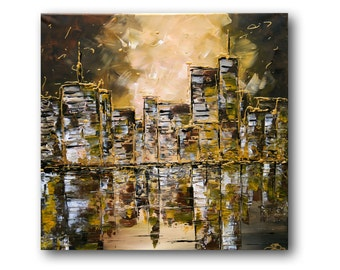 """Abstract Cityscape, Abstract Textured Painting, Textured Impasto Palette Knife, Abstract Landscape, """"Sunset Skyline"""" 24x24"""" by SFBFineArt"""