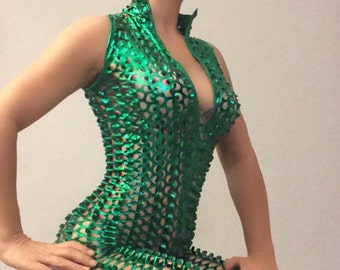 Catsuit /Green/bodysuit costume // 3d// circus// dance // performer // leotard // yoga // Lycra// / festival/ burning man/show outfit