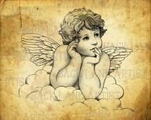 Vintage Baby Angel Clipart Lineart Illustration Instant Download PNG JPG Digi Line Art Image Drawing L515