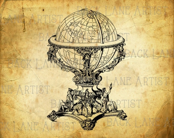 Vintage Globe Line Drawing : Vintage globe earth clipart lineart illustration instant