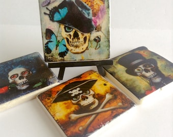Skulls Coasters - Halloween - Skulls in a Hat Coasters - Day of the Dead - Set of 4