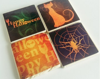 Halloween Coasters - Natural Stone Tile - Happy Halloween - Set of 4