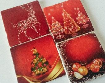 Christmas Coaster Set - Holiday Coasters - Xmas Trees - Reindeer - Home Decor - Holiday - Set of 4