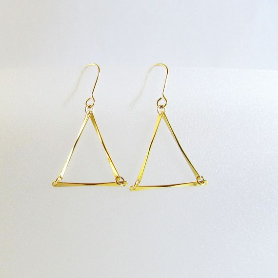 items similar to gold triangle earring geometric dangle earrings on etsy. Black Bedroom Furniture Sets. Home Design Ideas