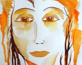 The Goddess of Autumn Original Watercolor Painting 9x12 by Jeanne Fry Number 8 in my 30 Goddesses in 30 Days Series
