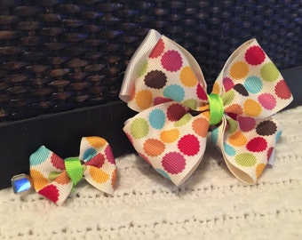 Big Little Bow Set - multicolored polka dots - Set of 2