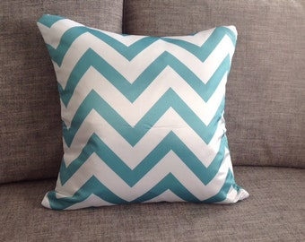 Teal Chevron Pillows - Zig Zag Pillow Cover With Zipper 45cm x 45cm Double Side Printed