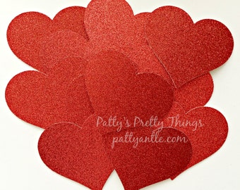 Glitter Hearts Die Cuts, Hearts Die Cuts, Glitter Paper Hearts, Hearts Gift Tags, Valentine's Day Hearts