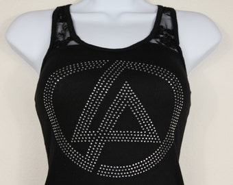 "Linkin Park logo (6.75""x 6.75"") on halflace racerback tank in stunning rhinestones--**Free shipping in the U.S.**"