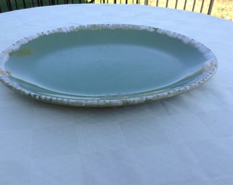 Pottery  Green Drip Platter  Avocado Green USA Ovenproof