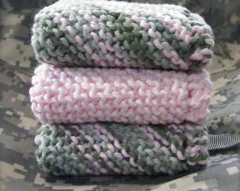 HAND-KNIT Baby WASHCLOTHS/Camouflage/Pink/Army/Green/Set of Three/Camo