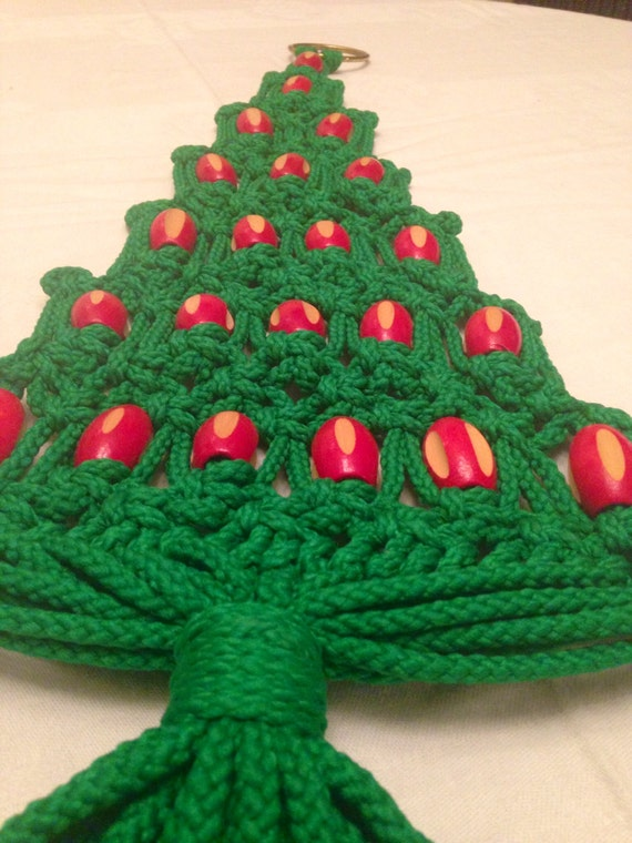 Macrame Christmas Tree With Red Beads Wall Hanging Yule Tree