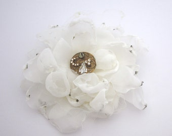 IVORY Chiffon Flower Pin / Brooch or Fascinator for wedding dress