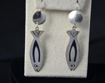 Vintage Silver and Black enamel fish dangle earrings. Marked Alpaca.