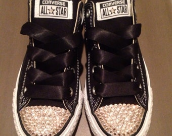 SWAROVSKI Elements Bling Custom CONVERSE- Classic Black Low Top Womens Converse - Chuck Taylors- Swarovski Silk/Gold Elements Crystals