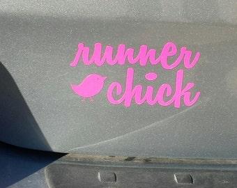 Runner Chick Vinyl Decal Bumper Sticker