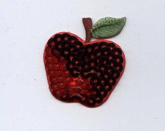 Sequin Single Red Apple Iron on Applique 154123A