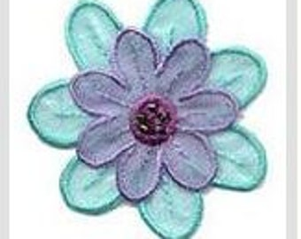 Purple and Turquoise Layered Flower Iron on Applique 155712F